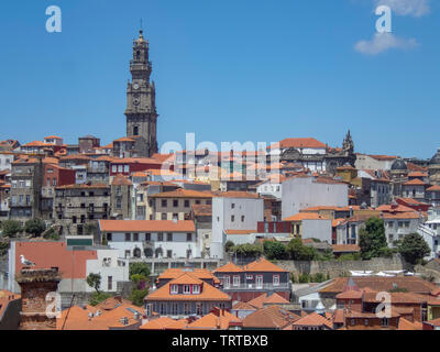 Looking across the rooftops of Porto in Portugal - Stock Photo