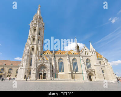 Budapest, Hungary - May 25, 2019 : View Of fisherman's bastion, one of most popular attraction in Budapest, Hungary - Stock Photo