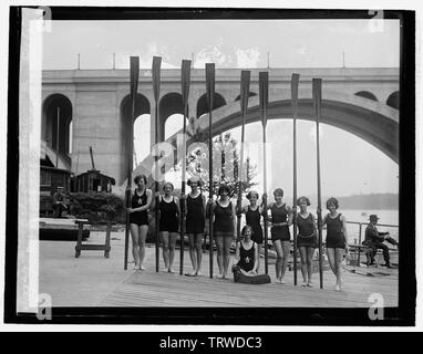 'English: Title: 8-oar shell crew of Capital Athletic Club, 5/1/26 Abstract/medium: 1 negative: glass; 4 x 5 in. or smaller; 1926; Library of Congre - Stock Photo