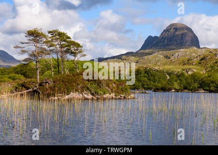 Suilven from Loch Druim Suardalain near Glencanisp Lodge, Assynt, Sutherland, Highlands, Scotland - Stock Photo
