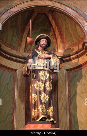 Spain, Galicia, Santiago de Compostela, Apostol St James, statue, San Francisco Church, - Stock Photo