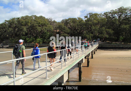 Visitors to Cumberland Island National Seashore arrive by a ferry that departs from the coastal town of St Marys in the state of Georgia - Stock Photo