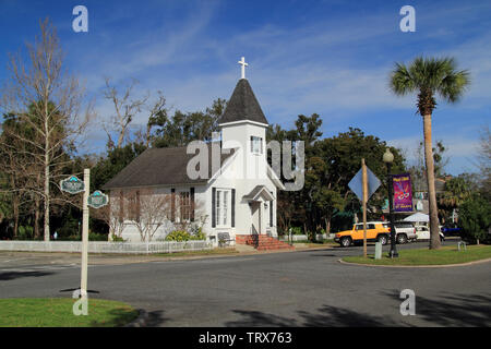 Our Lady Star of the Sea Catholic Church is one of the oldest religious structures located within the St. Marys Historic District in Georgia - Stock Photo