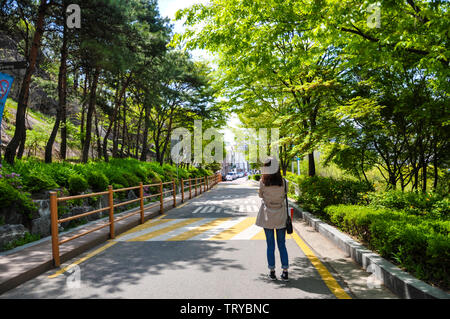 Seoul, Korea, 1st, May, 2013. View of Naksan Park, it gets its name from its camel hump-like appearance. The mountain is a solid granite bedrock. - Stock Photo