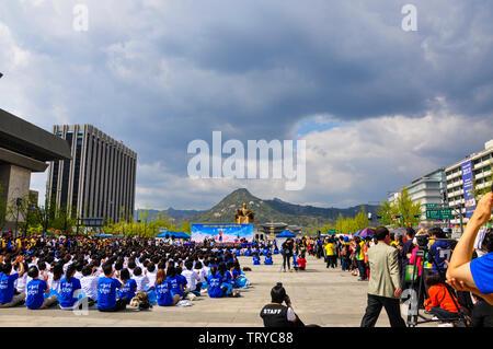 Seoul, Korea, 1st, May, 2013. Events held in Gwanghwamun Plaza, also known as Gwanghwamun Square. - Stock Photo
