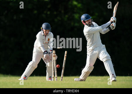 Batsman being bowled out. - Stock Photo