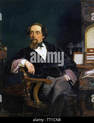 CHARLES DICKENS (1812-1870) English novelist painted by William Frith in 1859 - Stock Photo
