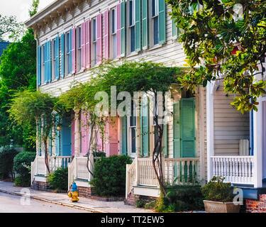 Colorful Historic Row Houses, Savannah, Georgia - Stock Photo