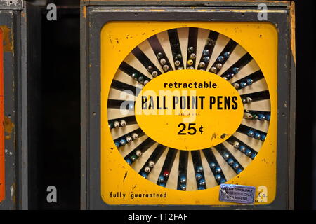 Wethersfield, CT / USA - June 11, 2019: Vintage vending machine for ball point pens - Stock Photo