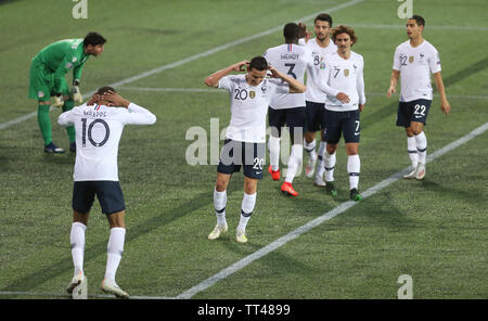 Célébration Goal Florian Thauvin of France during the UEFA Euro 2020 Qualifying Group H football match between Andorra and France on June 11, 2019 at Estadi Nacional in Andorra la Vella, Andorra - Photo Laurent Lairys / DPPI - Stock Photo