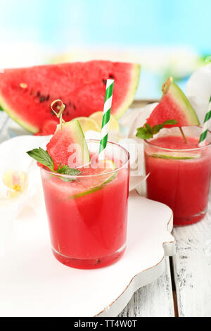 Watermelon cocktails on table, close-up - Stock Photo