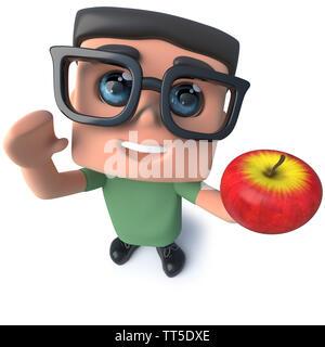 3d render of a funny cartoon nerd geek hacker character holding an apple - Stock Photo