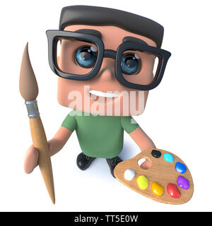 3d render of a funny cartoon nerd geek hacker character holding a paintbrush and palette - Stock Photo