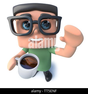3d render of a funny cartoon nerd geek character drinking a cup of coffee - Stock Photo