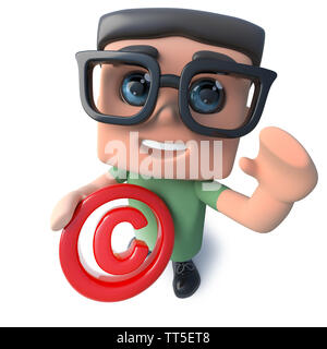 3d render of a funny cartoon nerd geek character holding a copyright symbol - Stock Photo
