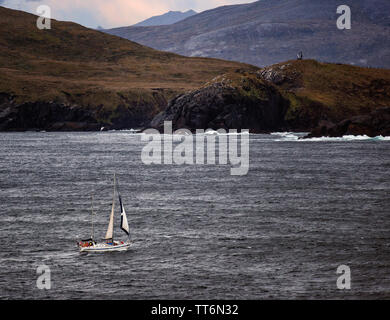 Sailing to the End of the World. Cape Horn is rocky point on Hornos Island, part of the Tiera del Fuego archipelago of southern Chile. - Stock Photo