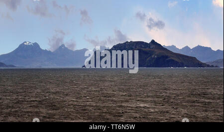 Cape Horn is rocky point on Hornos Island, part of the Tiera del Fuego archipelago of southern Chile, South America - Stock Photo