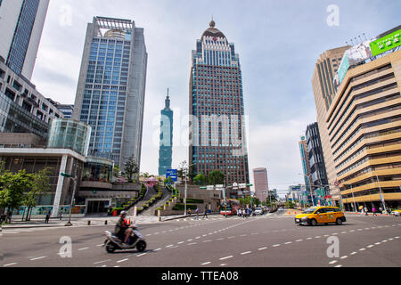 TAIPEI, TAIWAN. 5-5-2019 - skyline and cityscape of downtown Xinyi district Business area of with modern high rise building and the Taipei 101 buildin - Stock Photo
