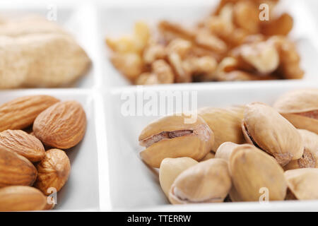 Walnut kernels, almonds, pistachios, peanuts in the ceramic rectangle plate, close-up - Stock Photo