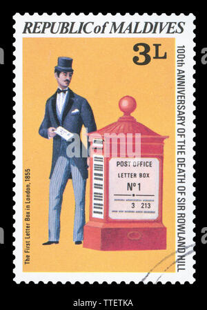 MALDIVES - CIRCA 1998: a postage stamp printed in Maldives showing an image of The first letter Box in London, 1855, circa 1998. - Stock Photo