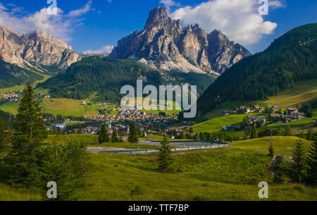 Summer view of Corvara in Badia in Val Badia, Italian dolomites, Alto Adige - Stock Photo