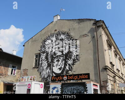Judah large mural by Pil Peled in Cracow, Poland - Stock Photo