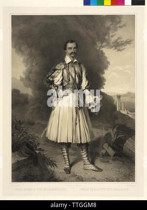 Otto King of Greece, picture in national costume, lithograph by Franz Hanfstaengl based on a painting by Ernst Rietschel, Additional-Rights-Clearance-Info-Not-Available - Stock Photo