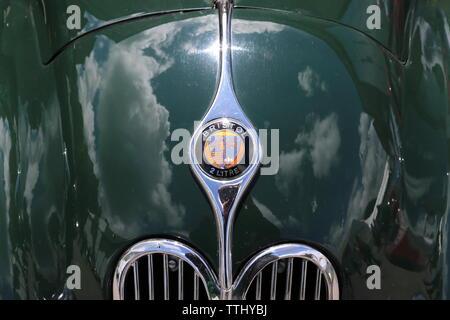 Bristol 400 2 Litre (1948) badge, Double Twelve Motorsport Festival 2019, Brooklands Museum, Weybridge, Surrey, England, Great Britain, UK, Europe - Stock Photo