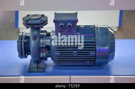 Close-up of centrifugal blue pump and motor - Stock Photo
