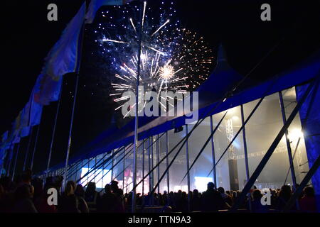 Seaclose Park, Newport, Isle of Wight - June 16 2019: Isle of Wight Music Festival, last night above the Big Top fireworks are set off to celebrate - Stock Photo