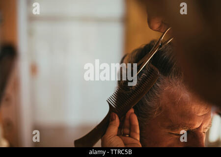 Cropped image of barber cutting male customer's hair - Stock Photo