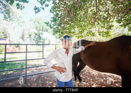 Confident senior woman standing with horse against tree - Stock Photo