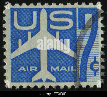 UNITED STATES - CIRCA 1969: stamp printed by United states, shows Silhouette of Jet Airliner, circa 1958. - Stock Photo