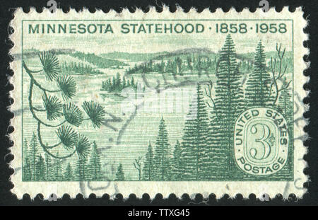 UNITED STATES - CIRCA 1958: stamp printed by United states, shows Minnesota Lakes and Pines, circa 1958 - Stock Photo