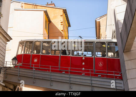 Funicular above a street in Old Lyon up the mountain in Lyon, France - Stock Photo