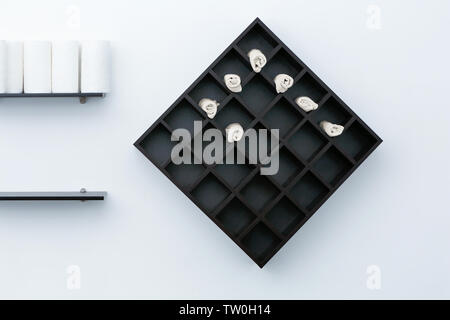 Shelf with towels in hairdressing salon - Stock Photo