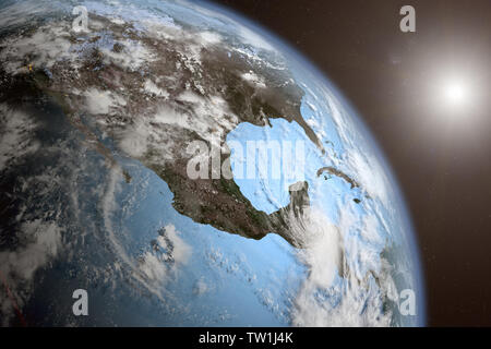 3D rednering of the Earth from space - Stock Photo
