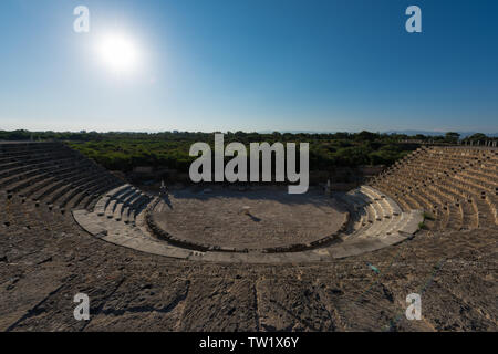 Ruins of Amphitheatre in ancient Greek city of Salamis, situated on the east coast of Cyprus. - Stock Photo
