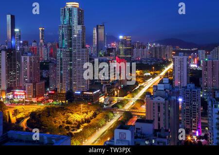 Night view of Union Square, Shenzhen - Stock Photo