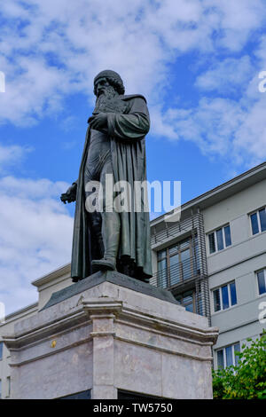 Mainz, Germany - June 16, 2019: Gutenberg statue monument in Mainz, Germany - Stock Photo