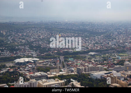TBILISI, GEORGIA - August 2018: Aerial view of Old Tbilisi on sunny summer day in Tbilisi, Georgia - Stock Photo