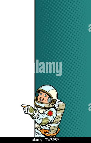 boy child son astronaut. Point to copy space poster - Stock Photo