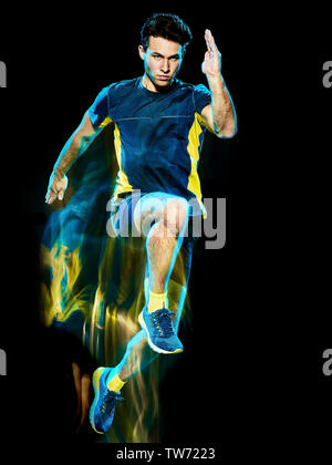 one caucasian runner running jogger jogging man light painting speed effect  isolated on black background - Stock Photo