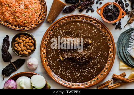 Mole Mexicano, Poblano mole ingredients, mexican spicy food traditional in Mexico - Stock Photo