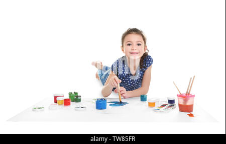 Little girl painting on big sheet of paper, isolated on white - Stock Photo
