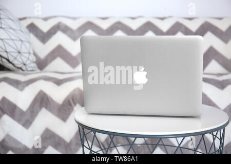 KYIV, UKRAINE - OCTOBER 18, 2017: Apple MacBook Air Silver on table indoors - Stock Photo