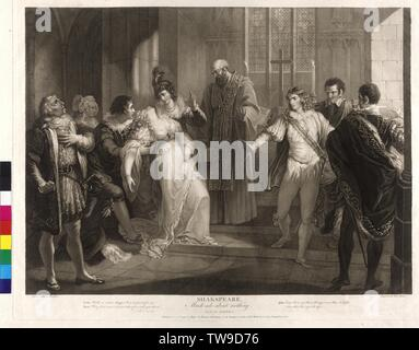 William Shakespeare: Much Ado About Nothing, production design, act IV, scene I, hero is falling in front of the altar in palsy, in front of her the monk how would marry her with Claudio. Claudio standing on the right and incriminate her of the perfidy, copper engraving in stippling by Pierre Simon (Peter Simon) based on painting by William Hamilton sheet from the Shakespeare-Gallery von John Boydell, Additional-Rights-Clearance-Info-Not-Available - Stock Photo