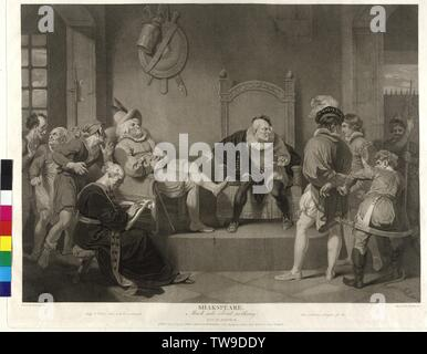 William Shakespeare: Much Ado About Nothing, production design, act IV, scene II, in the prison of Messina: Konrad and his ally Borachio turning in front of Constable Dogberry and Verges taxes. The court reporter Seacoal sitting in the foreground and power yourself annotation engraving in stippling by John Ogborne based on painting by Robert Smirke, sheet from the Shakespeare-Gallery von John Boydell, Additional-Rights-Clearance-Info-Not-Available - Stock Photo