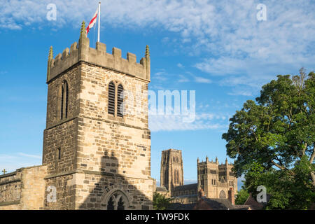 St Margaret's church and Durham cathedral, Durham city, Co. Durham, England, UK - Stock Photo