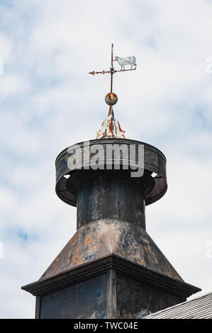 rustic weathervane with a white cow on top of a old metal cupola - Stock Photo